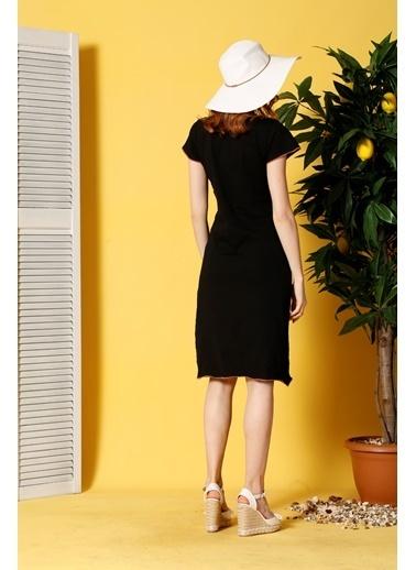 Siyah İnci Ev Elbisesi Siyah